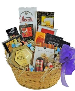 Large Gift Basket full of crackers, sausage, cheeses